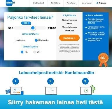 Laina.fi kulutusluotto, pikalaina tai käyttölaina - heti tilille ilman vakuuksia tai takaajaa, jo samana päivänä käyttöön.