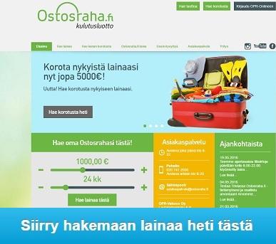 Ostosraha.fi kun haluat lainaa heti tilille ilman vakuuksia ja takaajia 400-5000€ ilman paperitöitä.