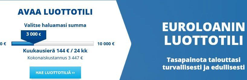 Avaa Euroloanin jatkuva joustoidyllinen tililuotto, joka vahvistaa talouttanne.
