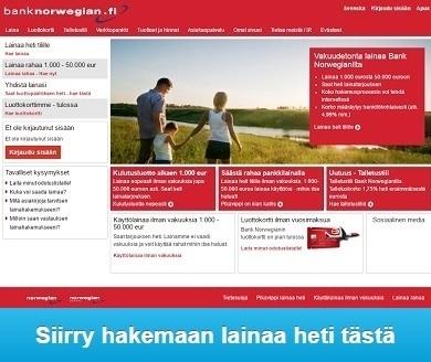 Bank Norwegian pankkilainaa nyt heti tilille edullisemmin kuin kilpailijoilta.