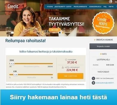 Credit24 pikalaina nyt välittömästi tilille ilman vakuuksia tyytyväisyystakuun kanssa.