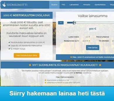 Suomilimiitti suomalaista lainaa ilman kuluja ja korkoa ensilainaajille 1000 euroon saakka!