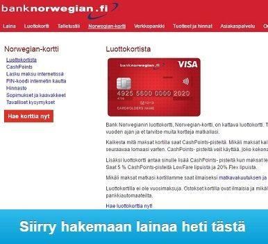 Bank Norwegian Luottokortti takaa että rahaa on aina saatavilla niin Suomessa kuin ulkomailla