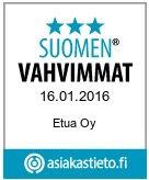 Etua.fi on erittäin turvallinen ja se on saanut Suomen Vahvimmat tunnustuksen.