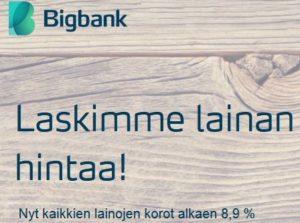 Pankki laski lainojen hintaa!