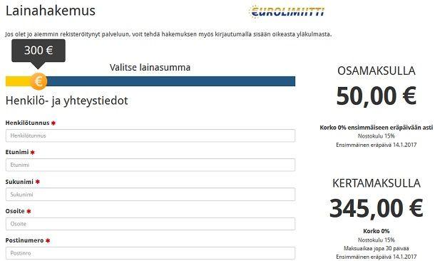 Eurolimiittiä haet nopsaan täyttämällä yhden hakemuskaavakkeen netissä.