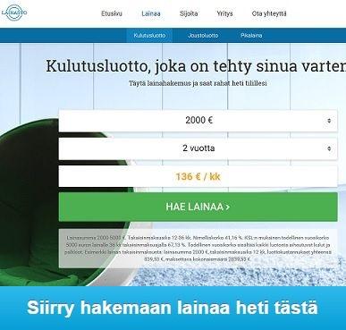 Lainasto.fi:n kulutusluotto maksetaan heti tilille ilman vakuutta.