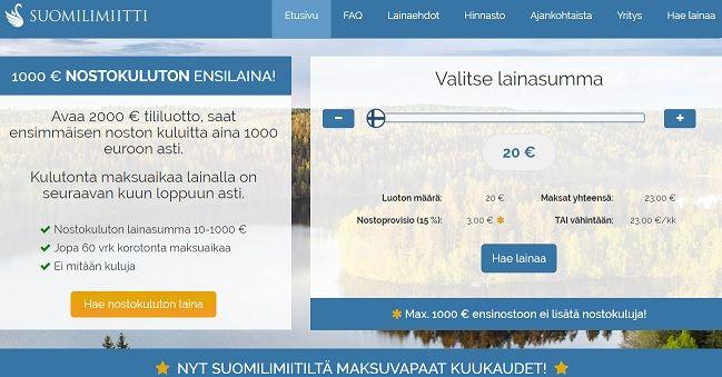 Suomilimiitiltä 20 euron pikavippi on helppo nostaa ilman kuluja ja korkoa.