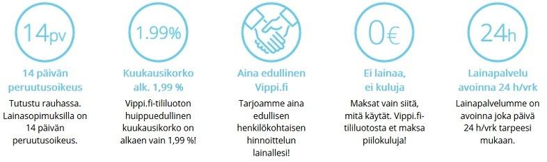 Vippi.fi:n ominaisuuksia, joista kuluttaja selvästi hyötyy.
