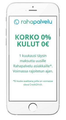 Rahapalvelun korko on 0 ja samoin kulut 0 euroa uusille asiakkaille.