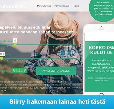 Rahapalvelu.fi pikalaina aina heti tilille ja vielä ilman kuluja.