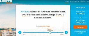 Limiitti.fi:n tarjoamaan joustoluottoon saat nostorajakasi joko 500€ tai 2000€. Kesäetuna saat ensinostosi ilmaiseksi. Ensinosto voi olla korkeintaan 300€ ja ilmaista maksuaikaa sille saa 30 vuorokautta.