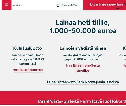 Bank Norwegian pankkilaina on halpa vaihtoehto kuluttajalle.