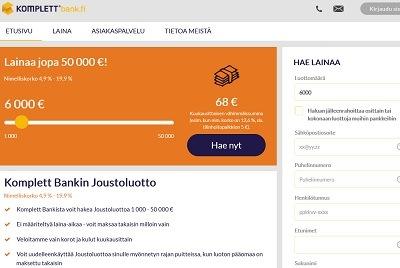 Komplett Bank lainaa sinulle jopa 50000 euroa netistä pankkilainana.
