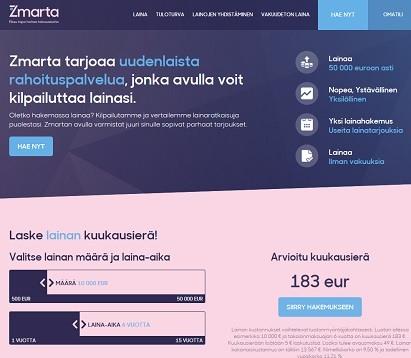 Zmarta tarjoaa uudenlaista pankkilainojen kilpailutusta.