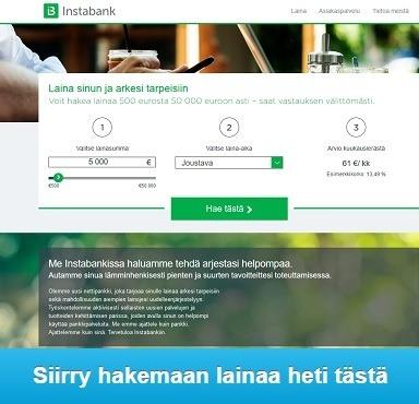 Suomen Instabank on pikalaina, jossa on pankkilainan ominaisuudet!